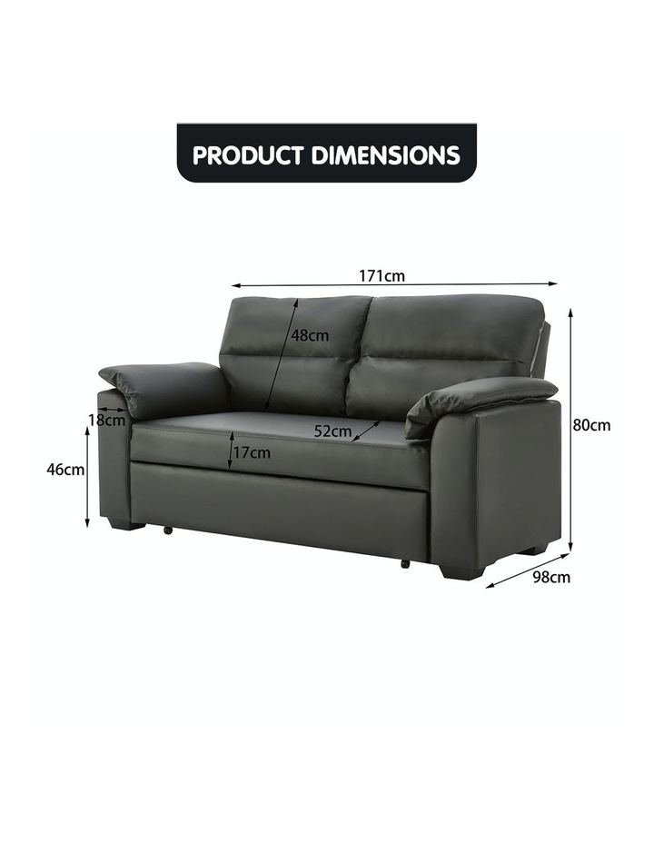 2 Seater Sofa Bed Lounge Futon Couch Modular Furniture Home Faux Velvet Fabric Black image 7