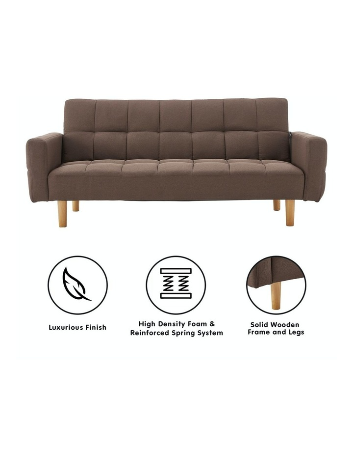 3 Seater Sarantino M3020 Linen Fabric Sofa Bed Lounge Couch Modular Furniture Brown image 2