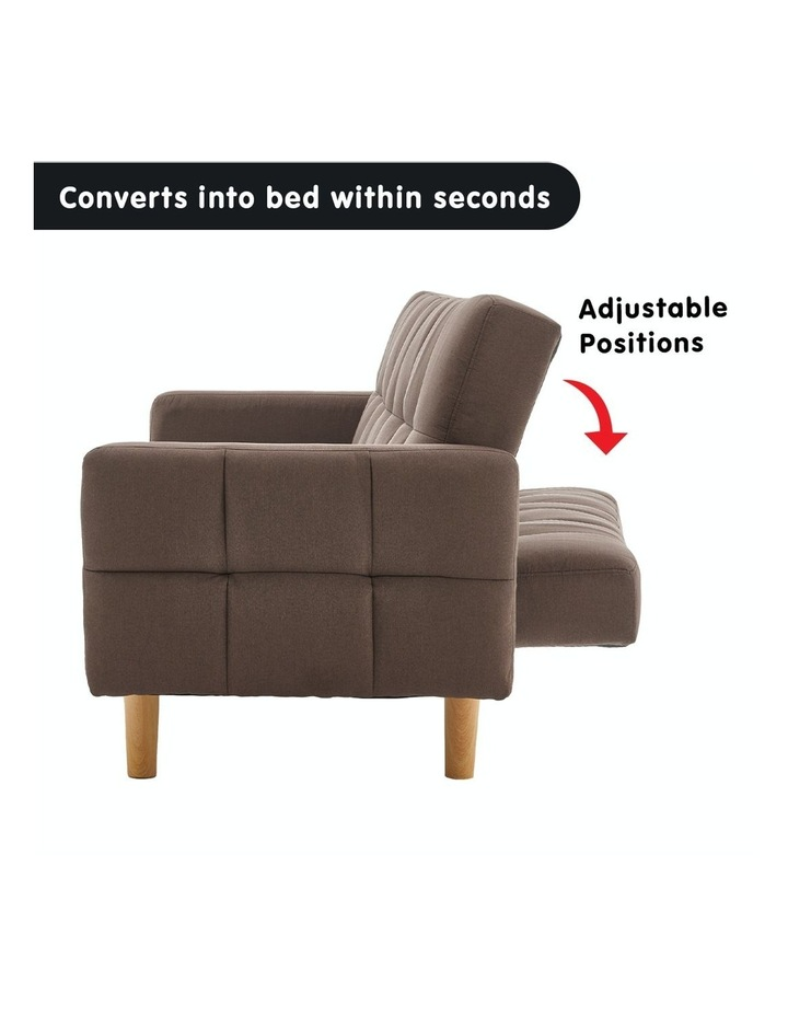 3 Seater Sarantino M3020 Linen Fabric Sofa Bed Lounge Couch Modular Furniture Brown image 4