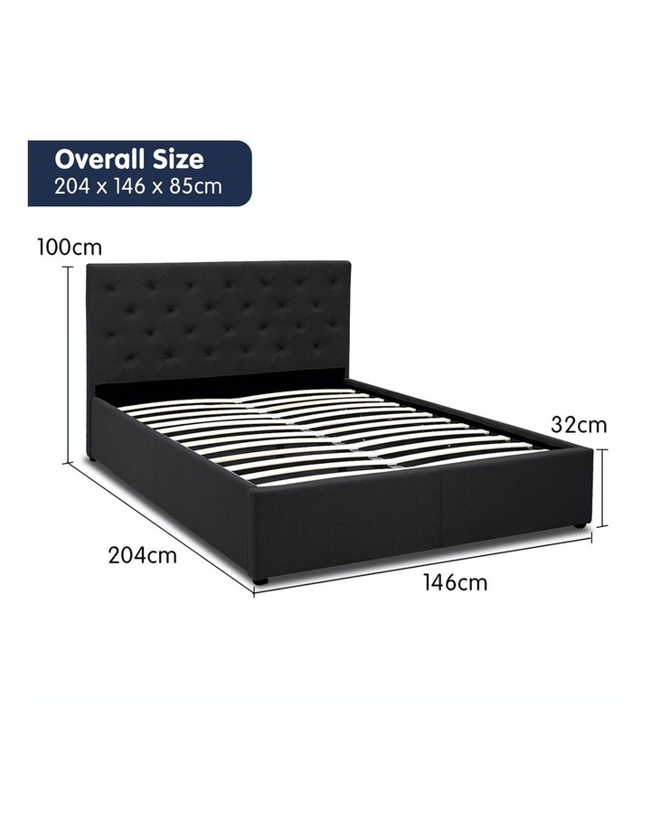 Gas Lift Double Size Linen Fabric Bed Frame Headboard Base Storage Black image 6