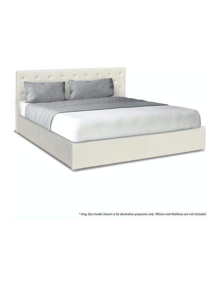 Gas Lift King Size Linen Fabric Bed Frame Headboard Base Storage Beige image 3