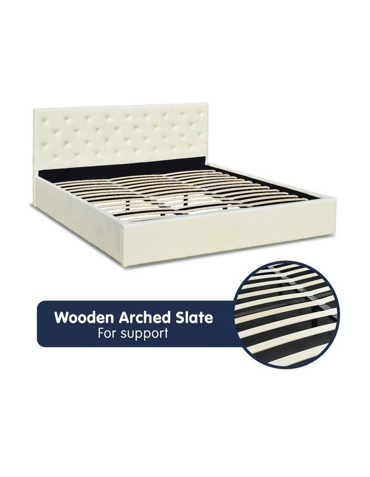 Gas Lift King Size Linen Fabric Bed Frame Headboard Base Storage Beige image 4