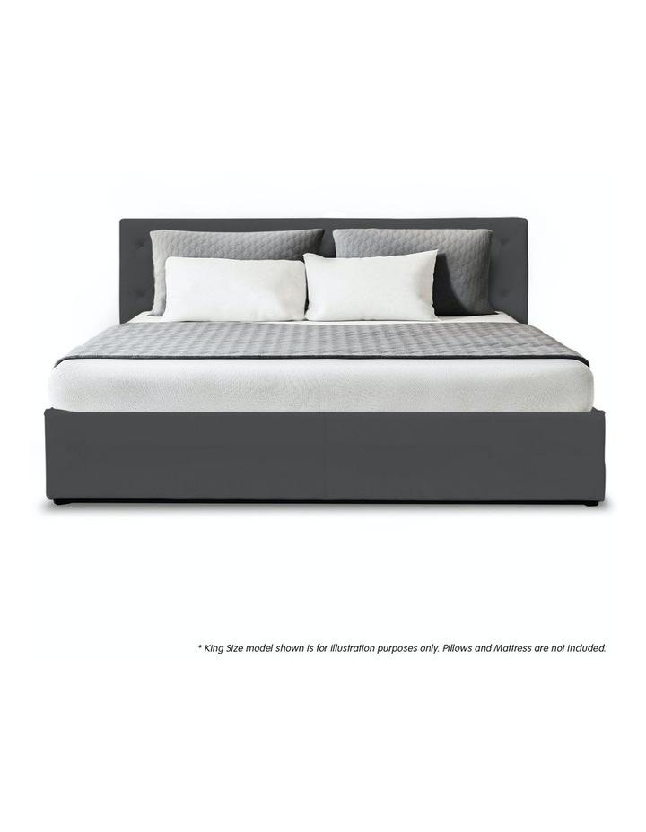 Gas Lift King Size Linen Fabric Bed Frame Headboard Base Storage Dark Grey image 3