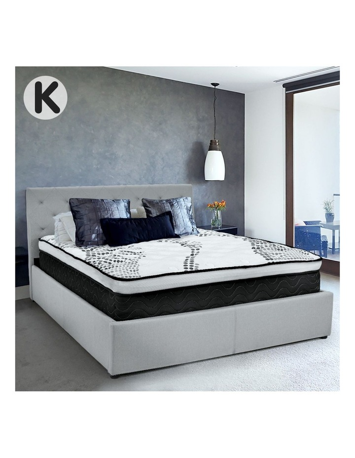 King Linen Fabric Gas Lift Storage Bed Frame With Headboard  Grey image 2