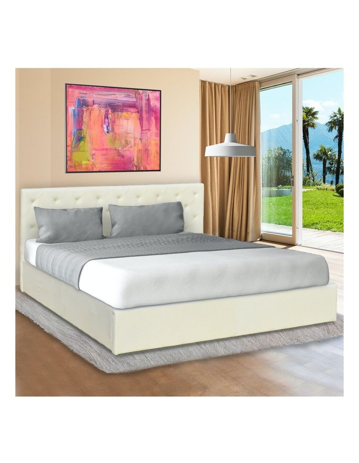 Gas Lift Queen Size Linen Fabric Bed Frame Headboard Base Storage Beige image 2