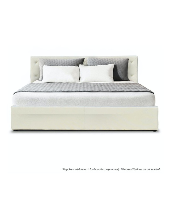 Gas Lift Queen Size Linen Fabric Bed Frame Headboard Base Storage Beige image 3