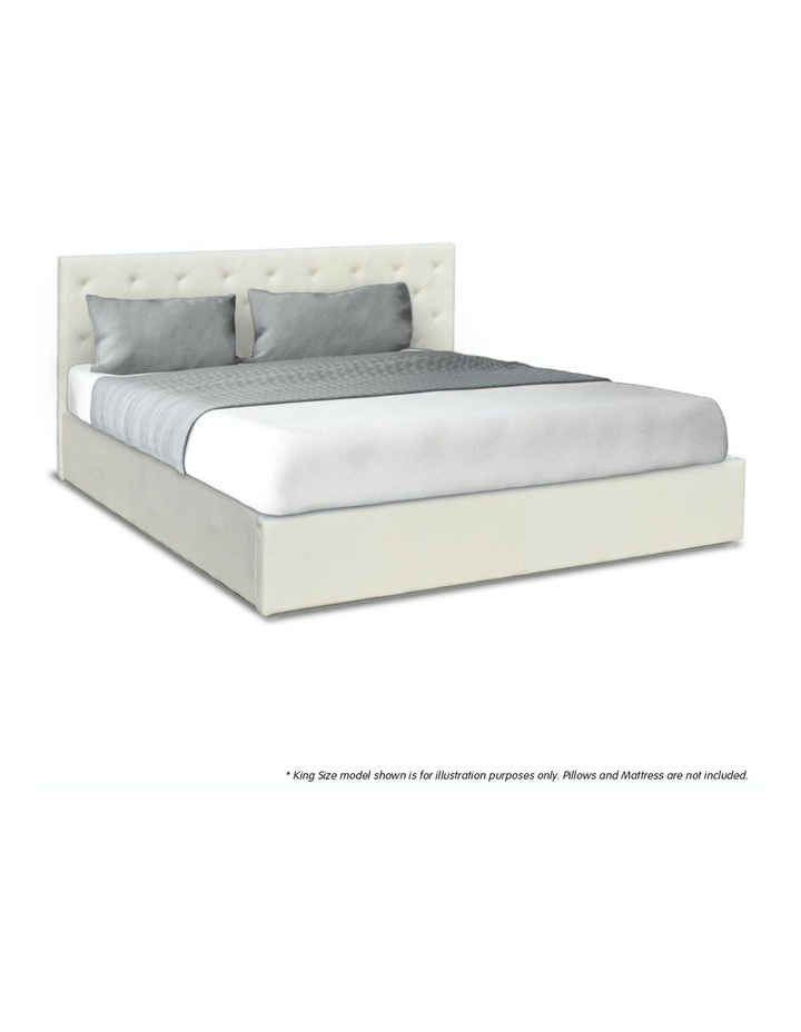 Gas Lift Queen Size Linen Fabric Bed Frame Headboard Base Storage Beige image 4