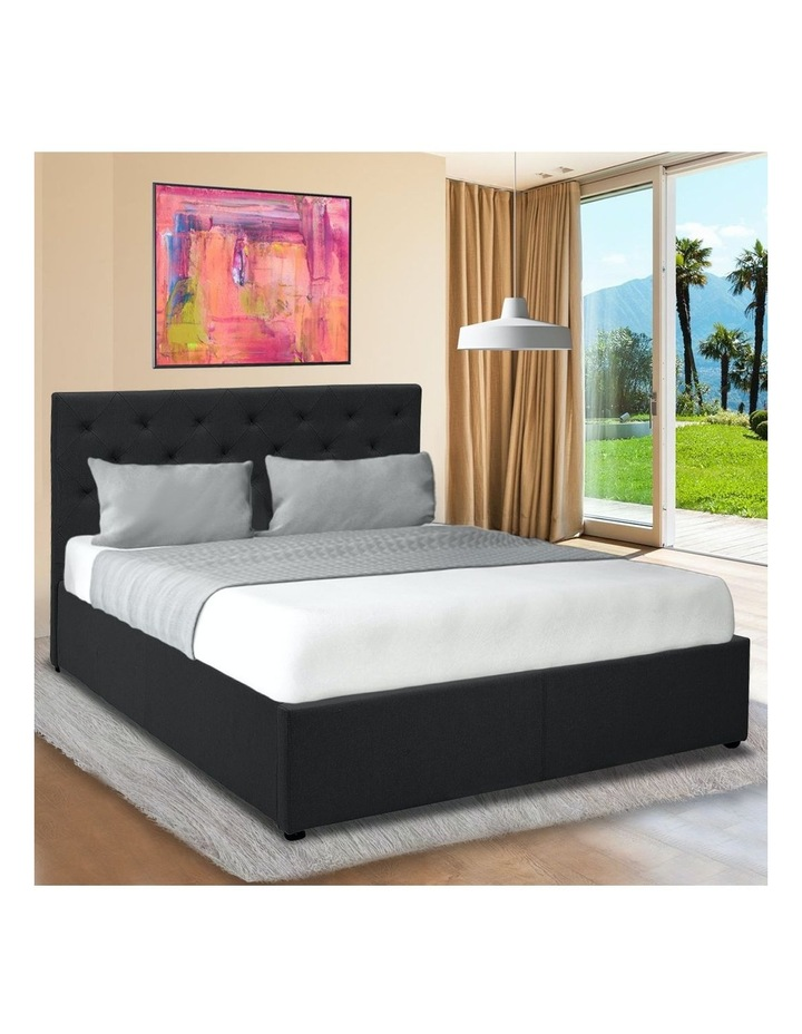 Gas Lift Queen Size Linen Fabric Bed Frame Headboard Base Storage Black image 2