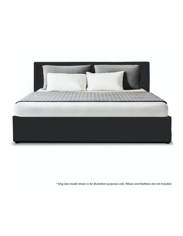 Gas Lift Queen Size Linen Fabric Bed Frame Headboard Base Storage Black image 3