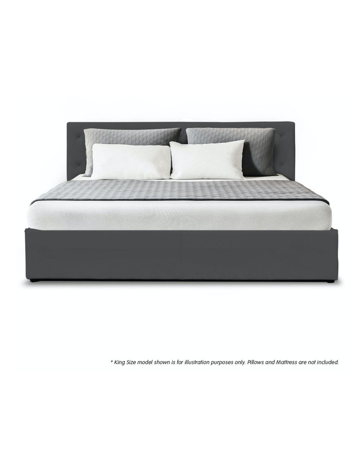 Gas Lift Queen Size Linen Fabric Bed Frame Headboard Base Storage Dark Grey image 3