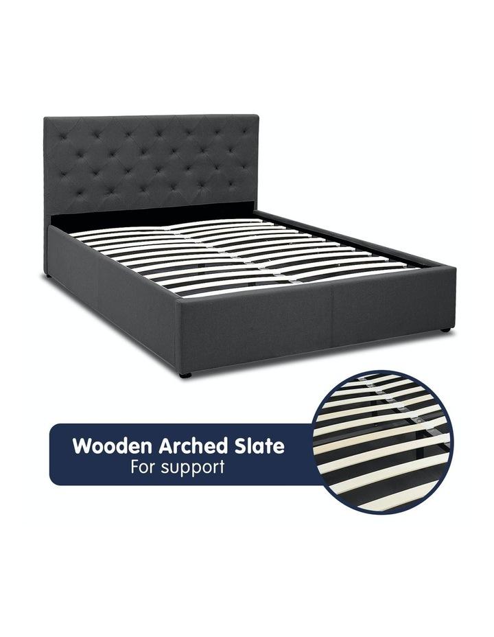 Gas Lift Queen Size Linen Fabric Bed Frame Headboard Base Storage Dark Grey image 5
