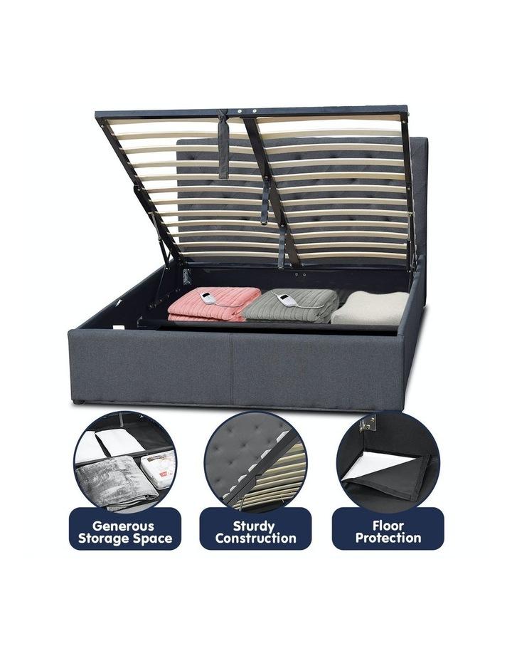 Gas Lift Queen Size Linen Fabric Bed Frame Headboard Base Storage Dark Grey image 6