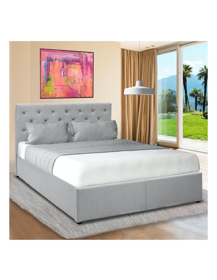 Gas Lift Queen Size Linen Fabric Bed Frame Headboard Base Storage Grey image 2