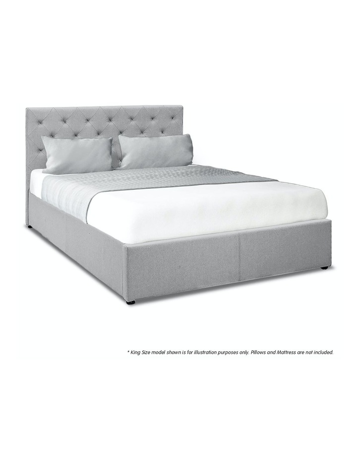 Gas Lift Queen Size Linen Fabric Bed Frame Headboard Base Storage Grey image 4