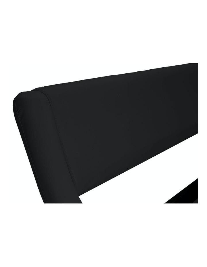 King Size Pu Leather Bed Frame Wood Base Metal Beam Italian Design - Black image 6