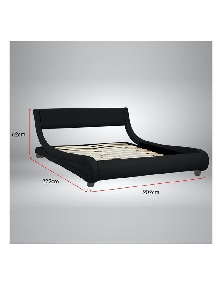 King Size Pu Leather Bed Frame Wood Base Metal Beam Italian Design - Black image 7