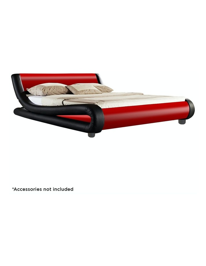 King Size Pu Leather Bed Frame Wood Base Metal Beam Italian Design - Red image 2