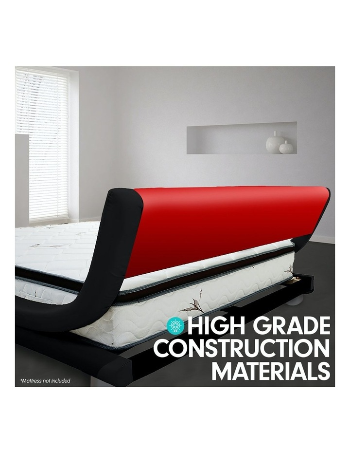 King Size Pu Leather Bed Frame Wood Base Metal Beam Italian Design - Red image 5