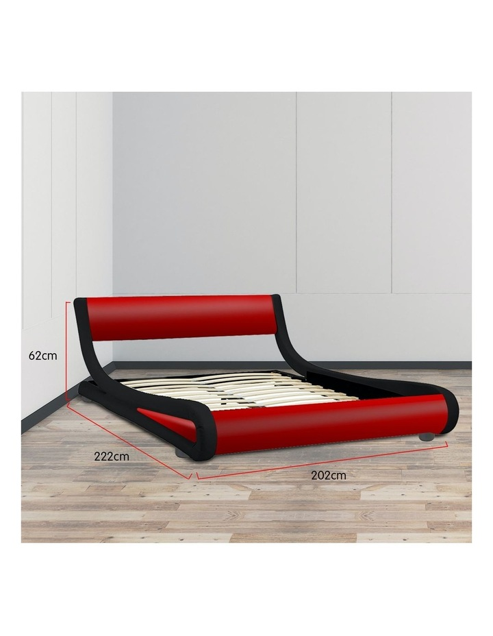 King Size Pu Leather Bed Frame Wood Base Metal Beam Italian Design - Red image 7