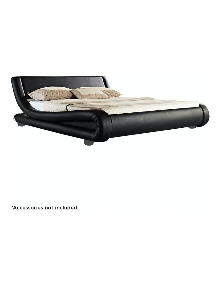 Queen Size Pu Leather Bed Frame Wood Base Metal Beam Italian Design - Black image 2