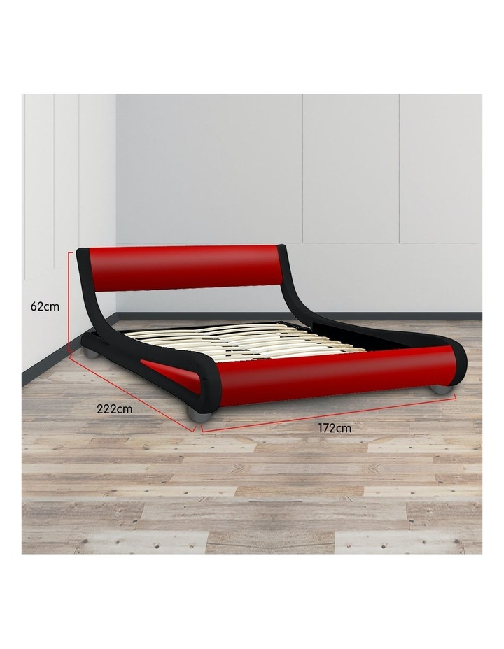 Queen Size Pu Leather Bed Frame Wood Base Metal Beam Italian Design - Red image 7