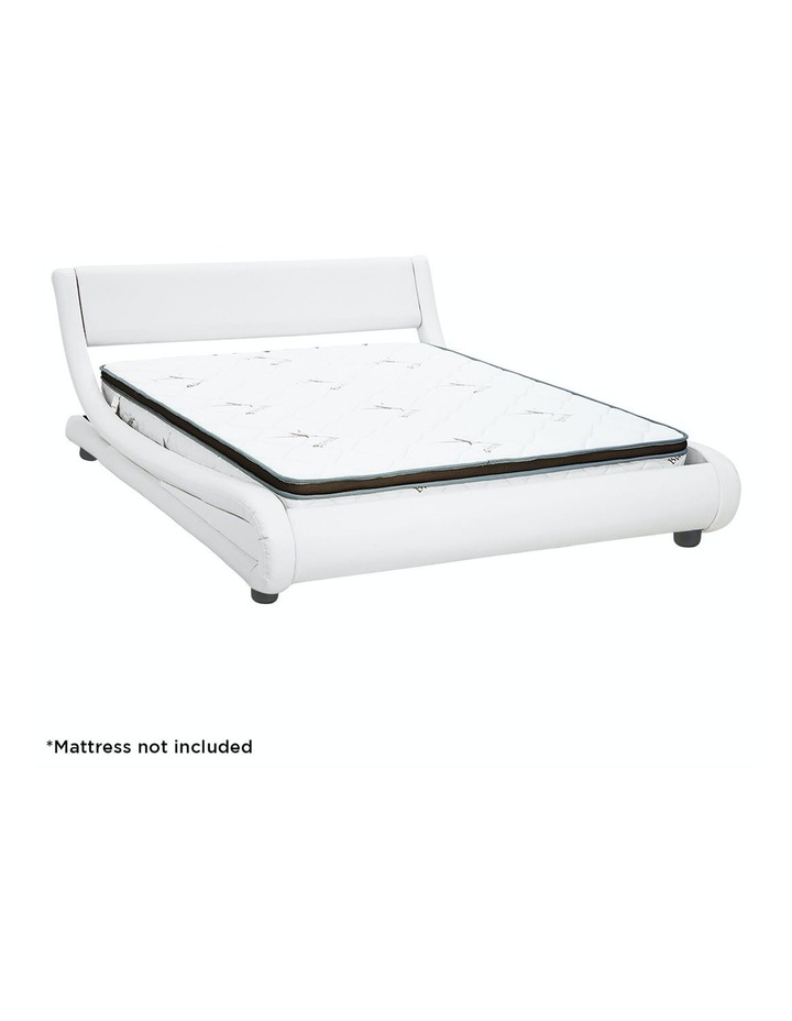 Queen Size Pu Leather Bed Frame Wood Base Metal Beam Italian Design - White image 2
