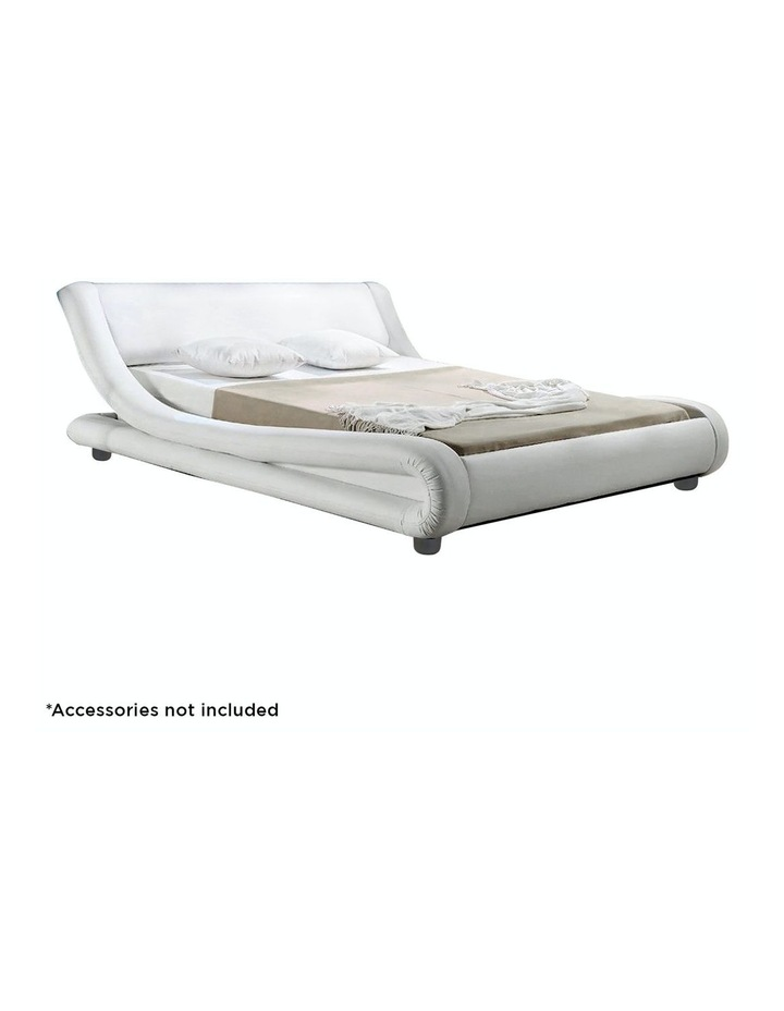 Queen Size Pu Leather Bed Frame Wood Base Metal Beam Italian Design - White image 3
