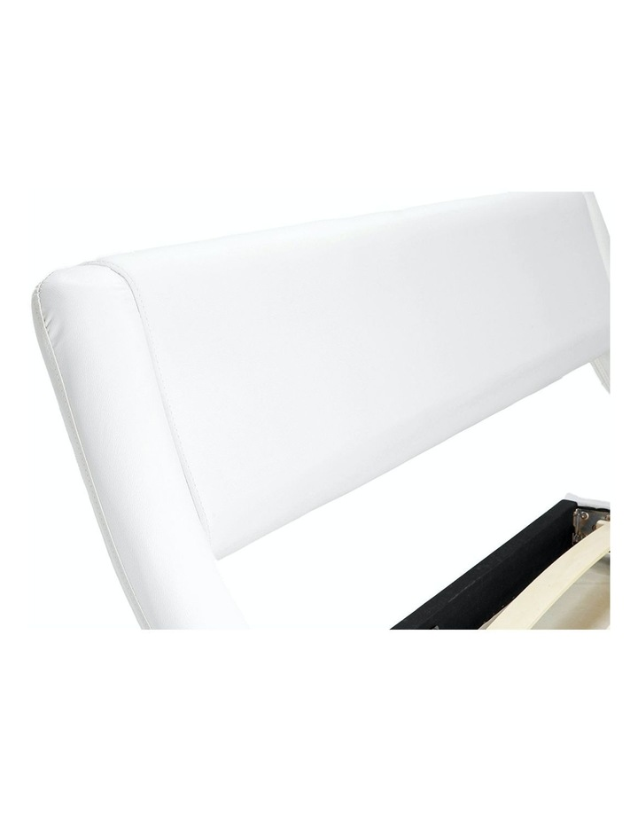 Queen Size Pu Leather Bed Frame Wood Base Metal Beam Italian Design - White image 5