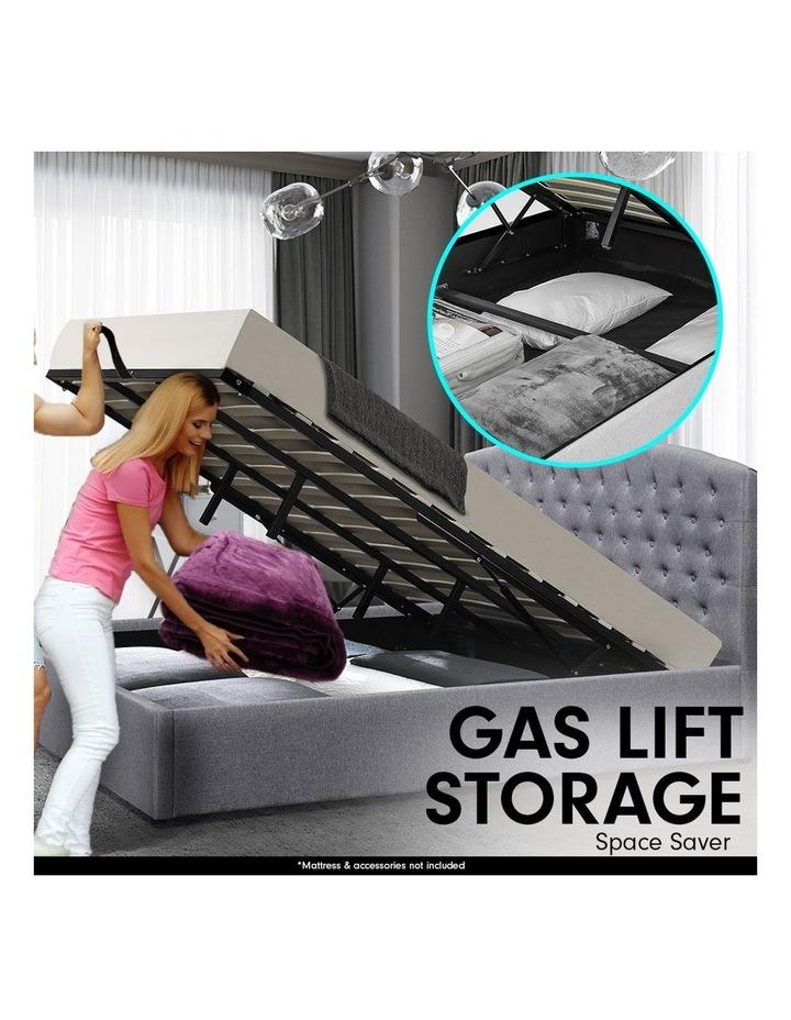 King Size Fabric Linen Bed Frame Base Gas Lift Storage Bedhead - Dark Grey image 3