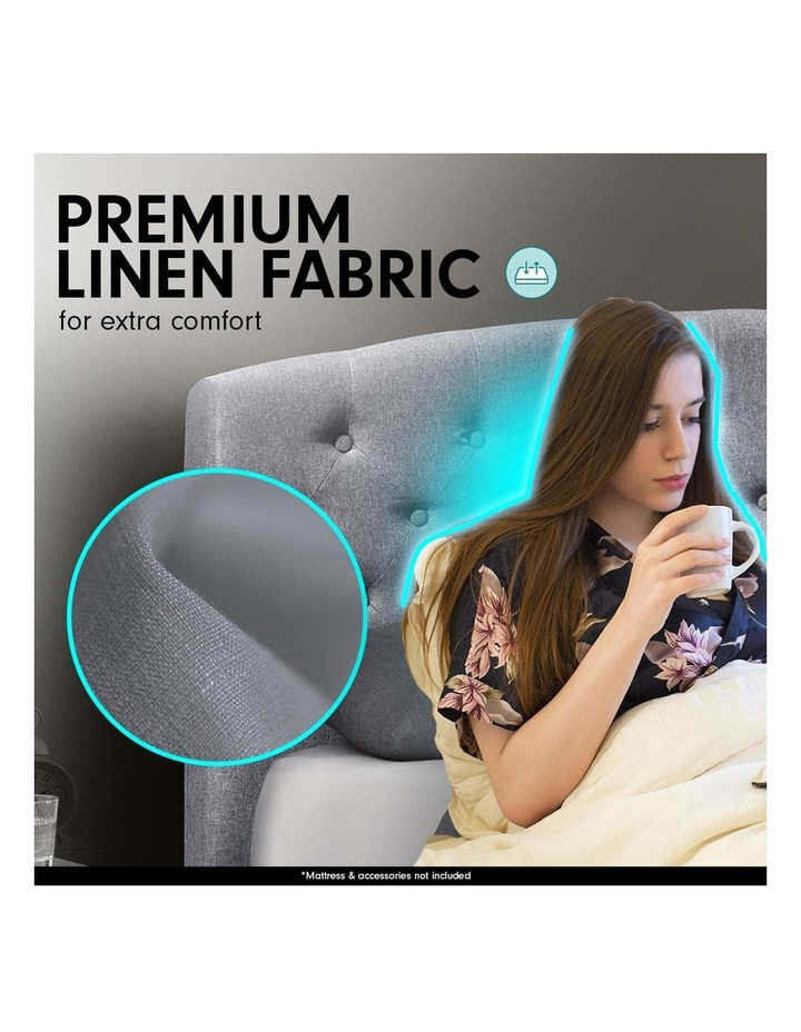 King Size Fabric Linen Bed Frame Base Gas Lift Storage Bedhead - Dark Grey image 4