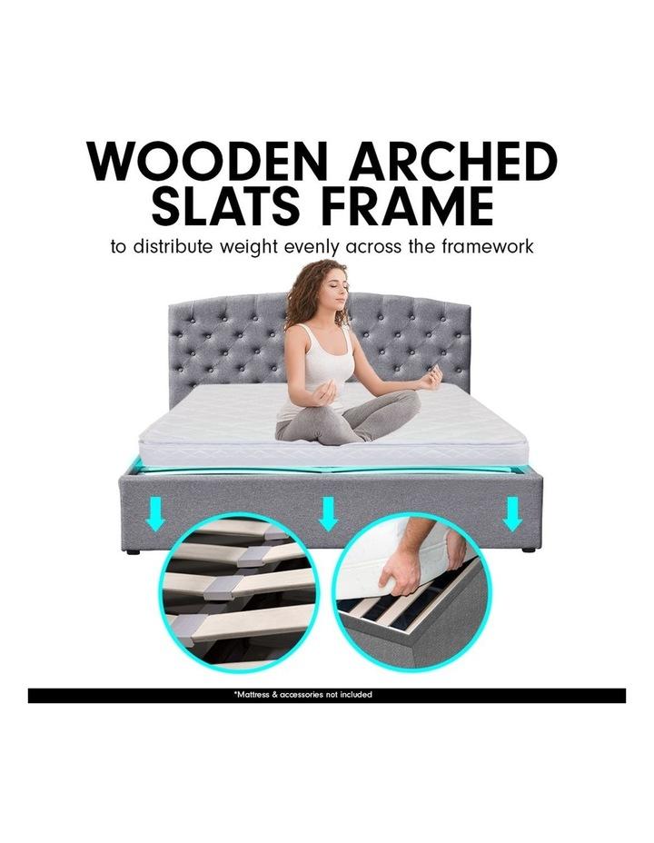 King Size Fabric Linen Bed Frame Base Gas Lift Storage Bedhead - Dark Grey image 5