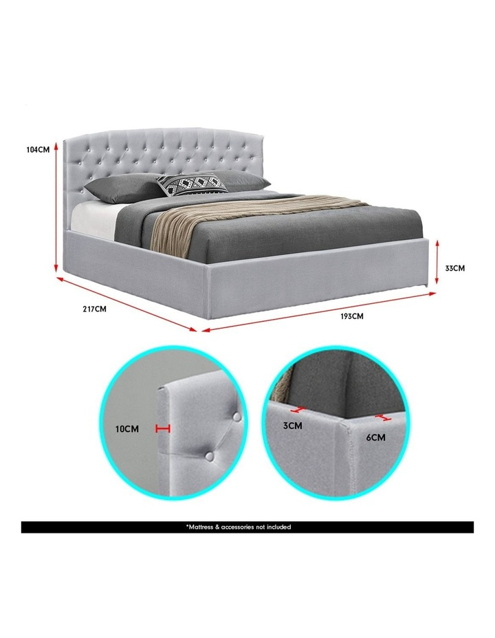 King Size Bed Frame Fabric Linen Base Gas Lift Storage Bedhead - Light Grey image 5