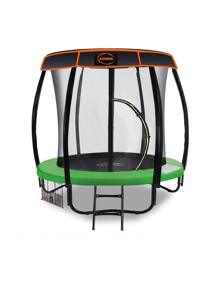 6ft Trampoline with Roof Cover Pad Mat Net Ladder Outdoor Round  - Green image 1