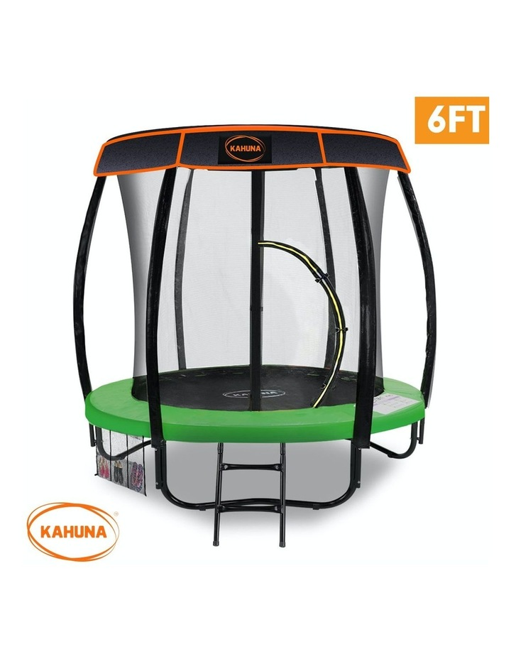 6ft Trampoline with Roof Cover Pad Mat Net Ladder Outdoor Round  - Green image 2