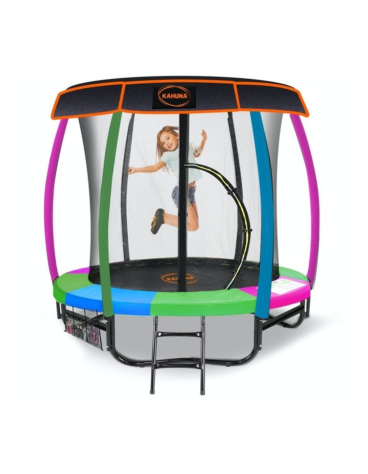 6ft Trampoline Free Safety Net Spring Pad Roof Cover Mat Basketball Set- Rainbow image 1