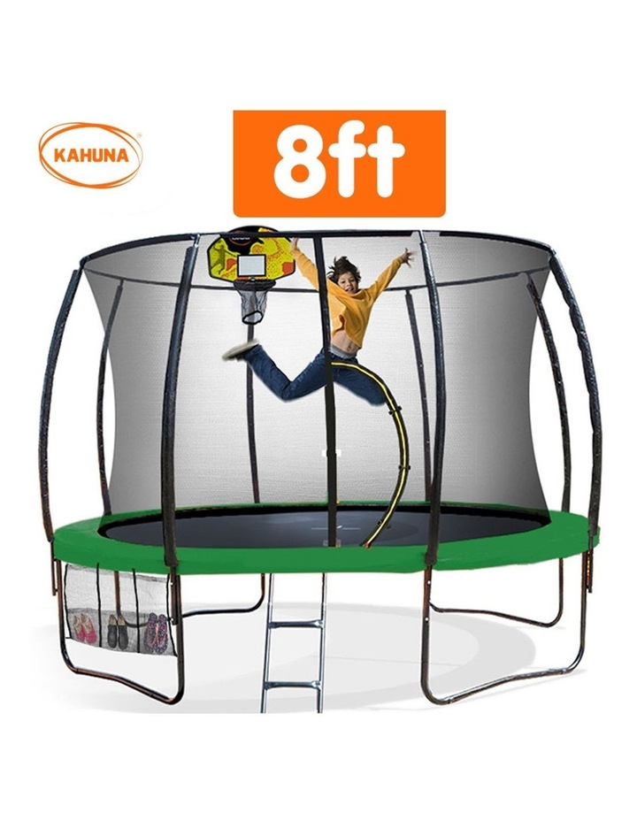 8ft Trampoline Safety Net Spring Pad Cover Mat Ladder Free Basketball Set Green image 2