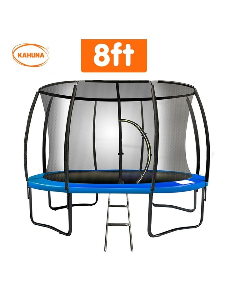 8ft Trampoline Free Ladder Spring Mat Net Safety Pad Cover Round Enclosure Blue/Orange image 2