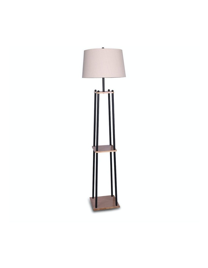 Metal Etagere Floor Lamp With Wood Shelf Light Cream Linen Fabric Shade image 1