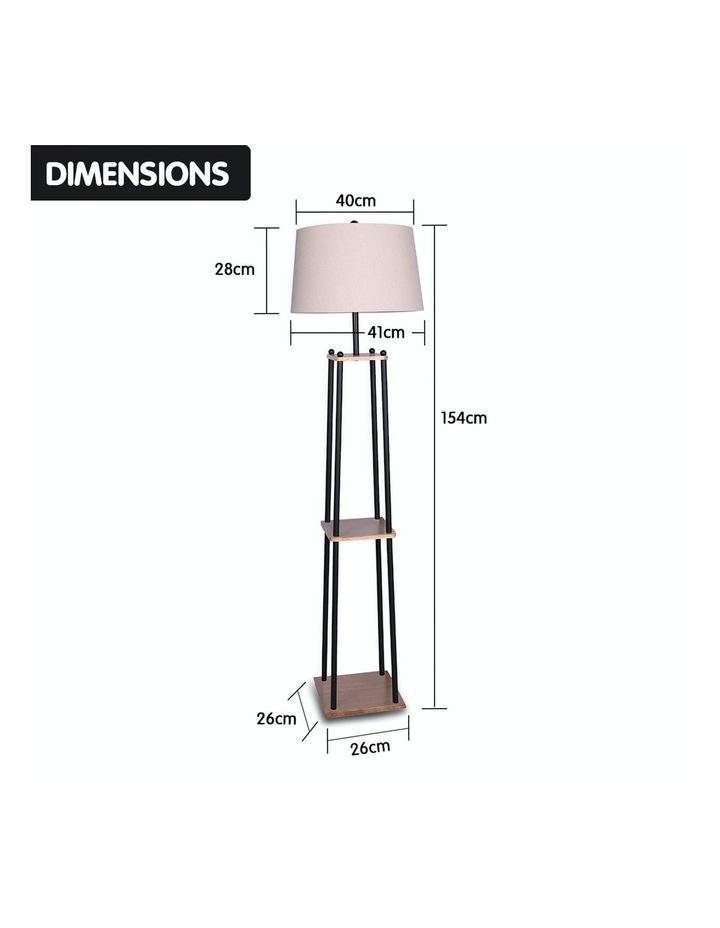Metal Etagere Floor Lamp With Wood Shelf Light Cream Linen Fabric Shade image 2
