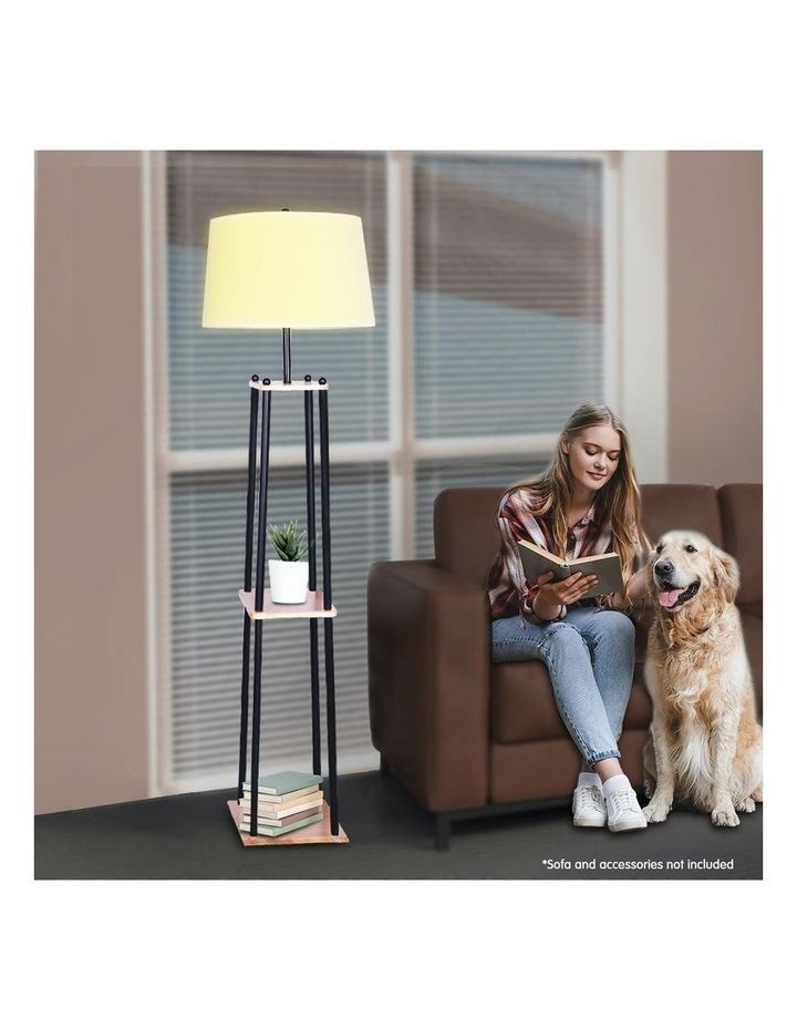 Metal Etagere Floor Lamp With Wood Shelf Light Cream Linen Fabric Shade image 3