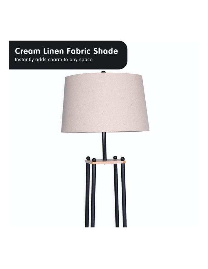 Metal Etagere Floor Lamp With Wood Shelf Light Cream Linen Fabric Shade image 4