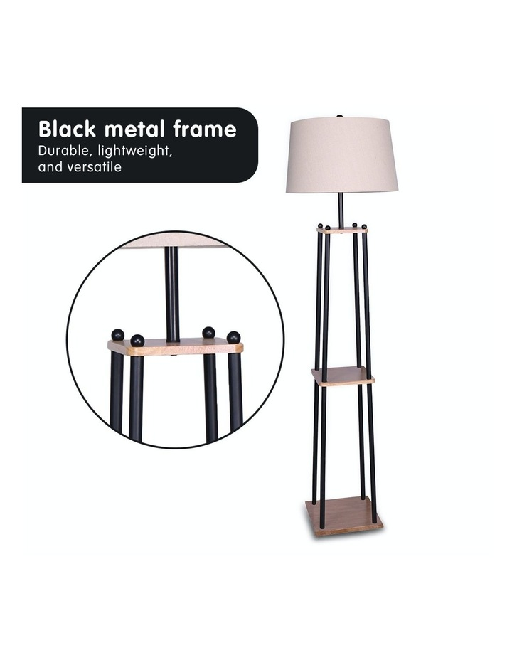 Metal Etagere Floor Lamp With Wood Shelf Light Cream Linen Fabric Shade image 5