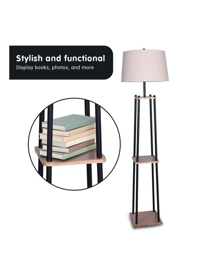 Metal Etagere Floor Lamp With Wood Shelf Light Cream Linen Fabric Shade image 6
