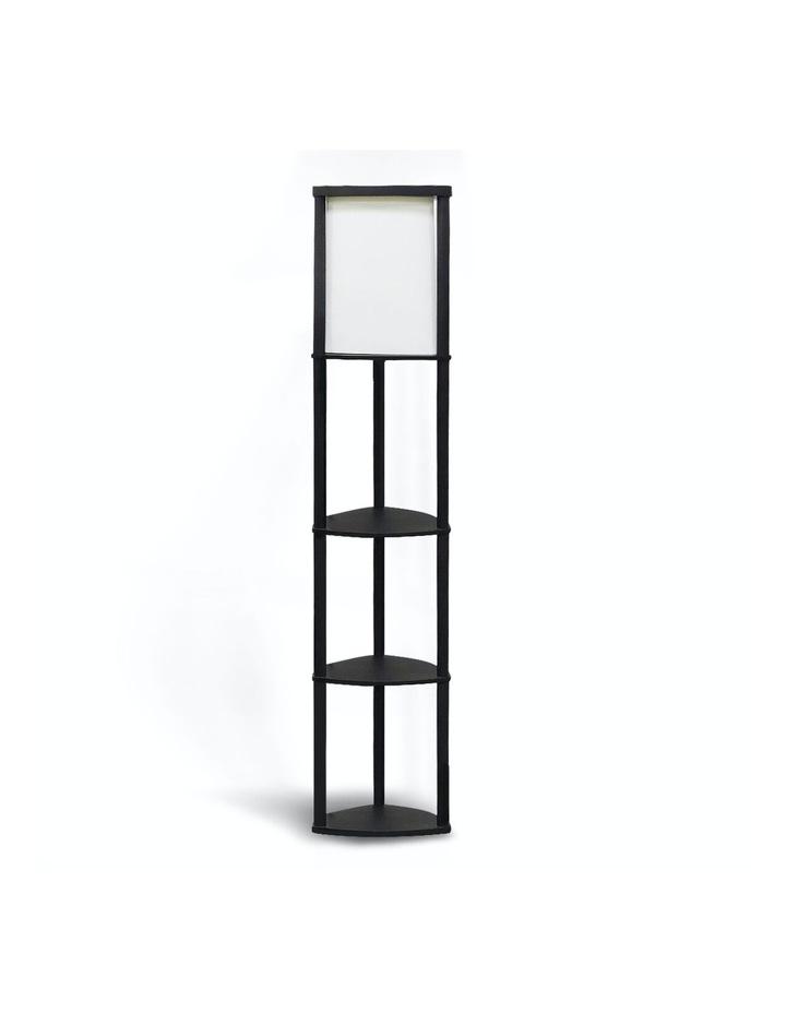 Wood Etagere Floor Lamp In Tripod Shape Reading Light 3 Wooden Shelves image 1