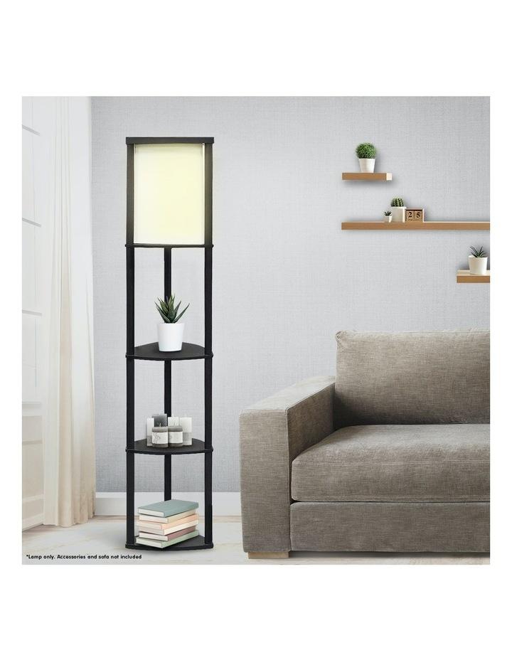 Wood Etagere Floor Lamp In Tripod Shape Reading Light 3 Wooden Shelves image 5