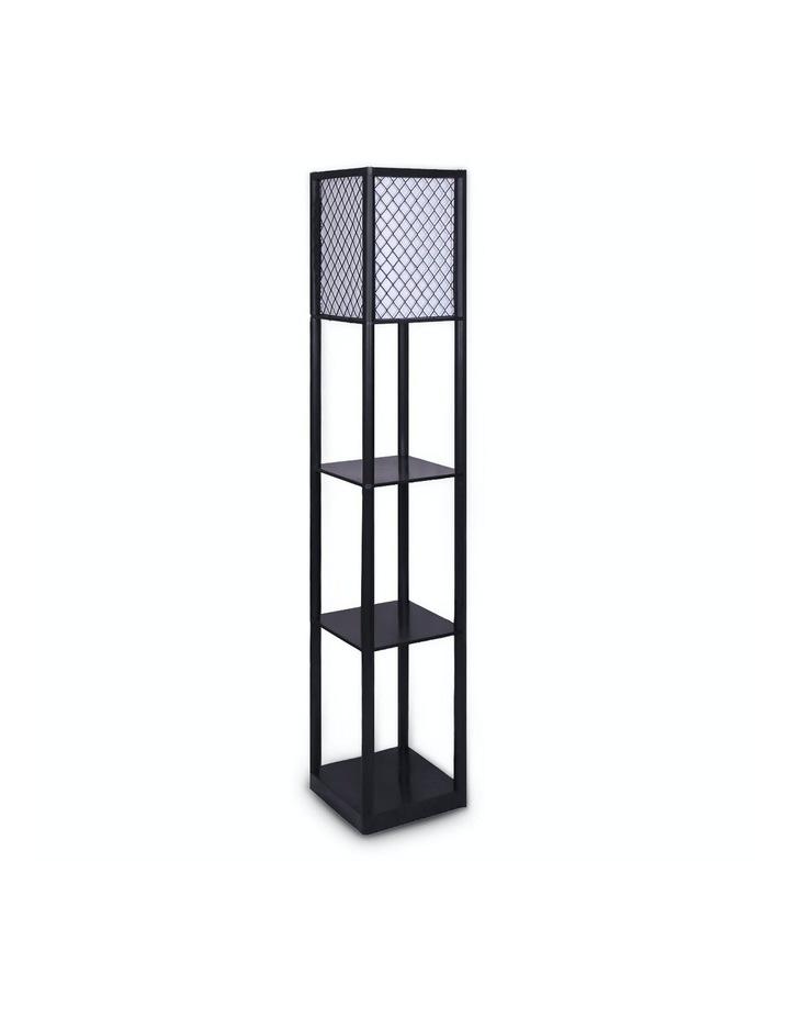 Etagere Floor Lamp Diamond Design Fabric Shade With Shelves Black image 1