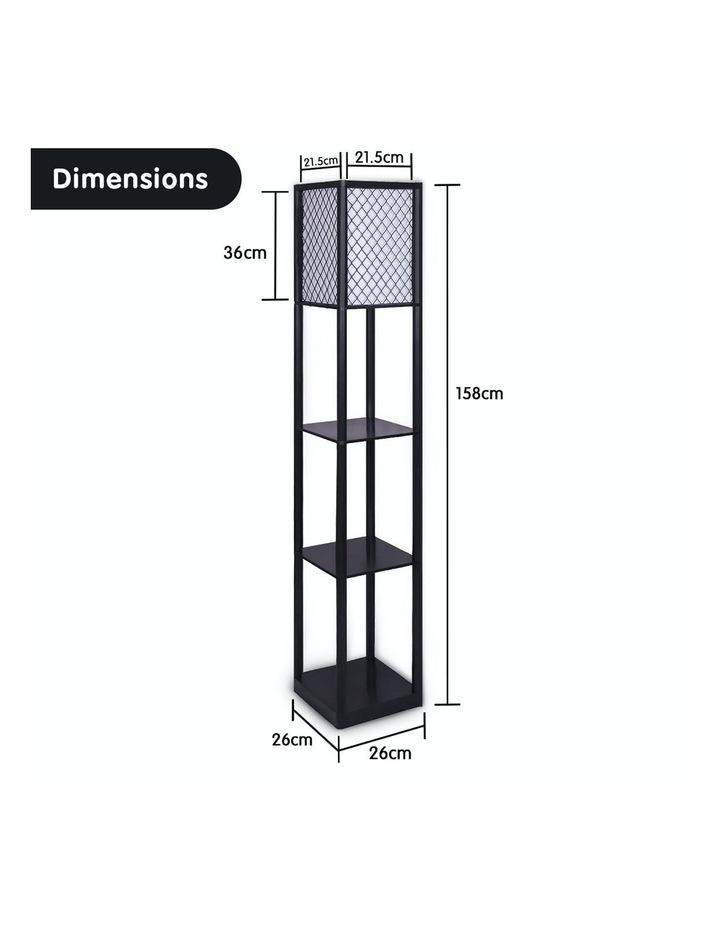 Etagere Floor Lamp Diamond Design Fabric Shade With Shelves Black image 2