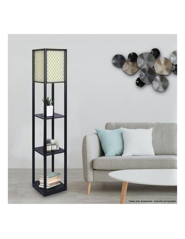 Etagere Floor Lamp Diamond Design Fabric Shade With Shelves Black image 4
