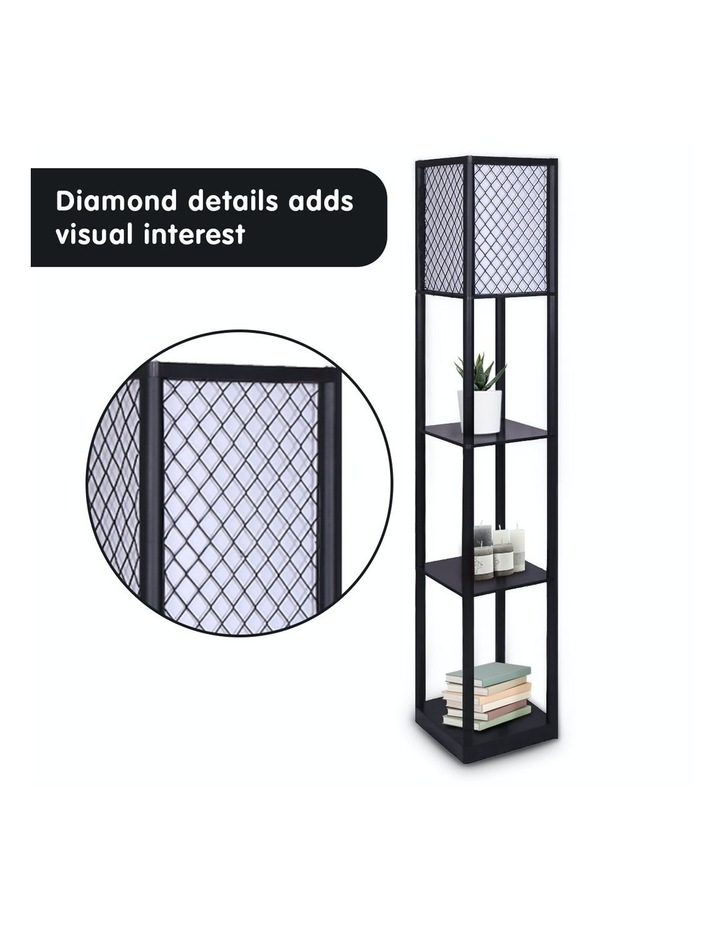 Etagere Floor Lamp Diamond Design Fabric Shade With Shelves Black image 5