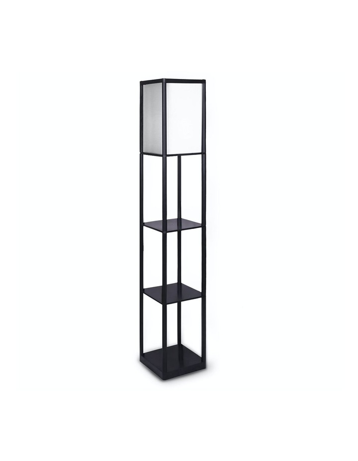 Etagere Floor Lamp Shelves Black Frame Tapered Linen Brown Fabric Shade Stand image 1